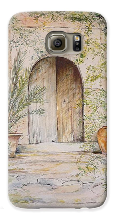 Door Galaxy S6 Case featuring the painting Old Wooden Door by Lizzy Forrester
