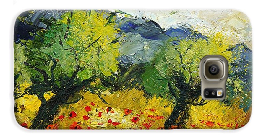 Flowers Galaxy S6 Case featuring the painting Olive Trees And Poppies by Pol Ledent