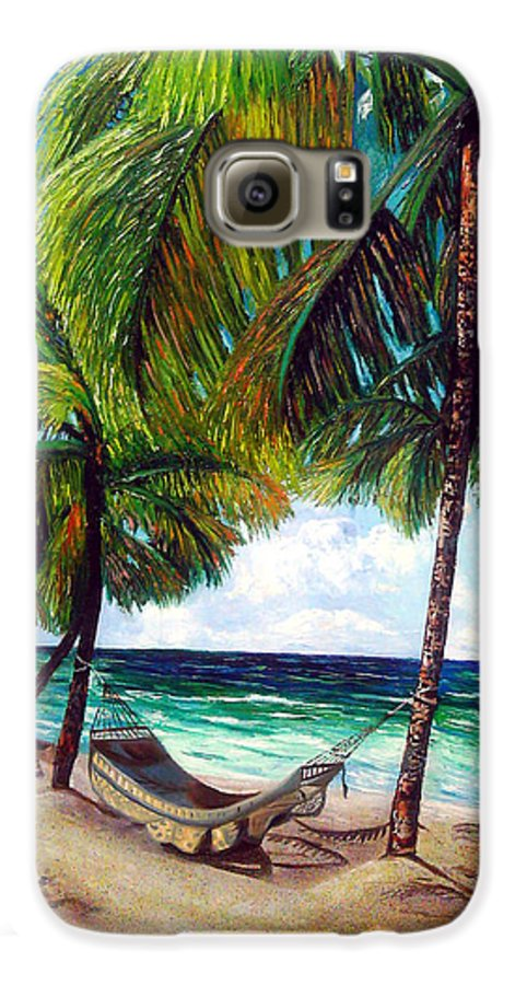 Beach Galaxy S6 Case featuring the painting On The Beach by Jose Manuel Abraham