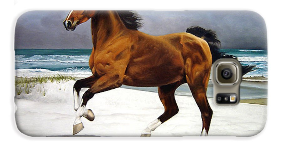 Horse Galaxy S6 Case featuring the painting On The Beach by Marc Stewart