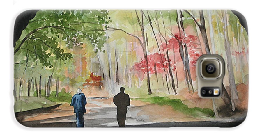 Road Galaxy S6 Case featuring the painting On The Road To Nowhere by Jean Blackmer