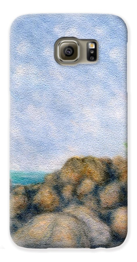 Rainbow Colors Pastel Galaxy S6 Case featuring the painting On The Rocks by Kenneth Grzesik