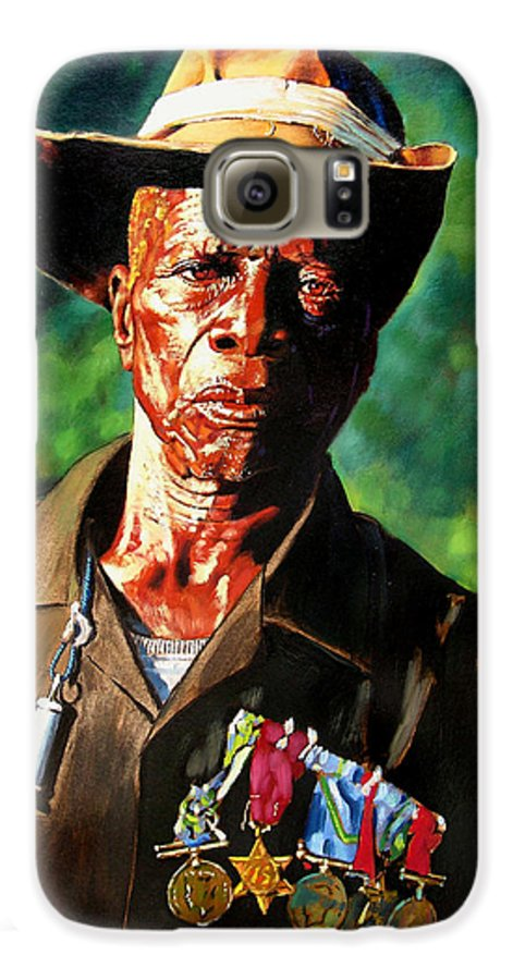 Black Soldier Galaxy S6 Case featuring the painting One Armed Soldier by John Lautermilch