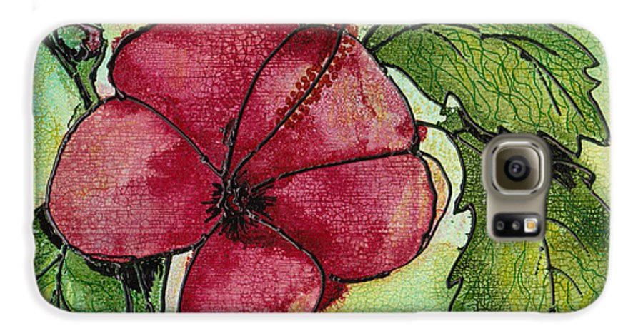 Flower Galaxy S6 Case featuring the painting One Pink Hibiscus by Susan Kubes