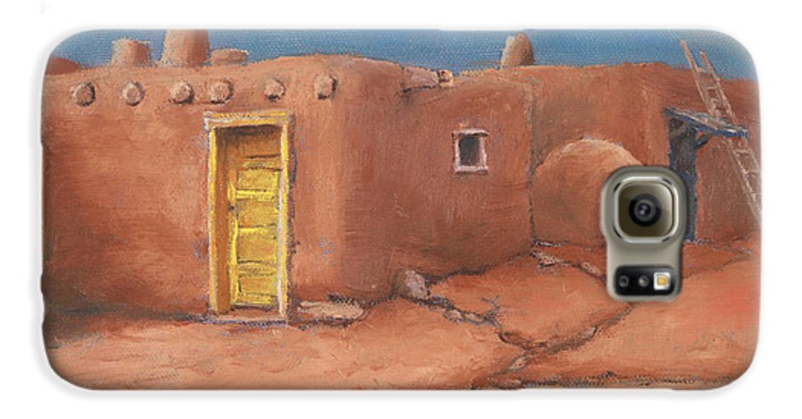 Taos Galaxy S6 Case featuring the painting One Yellow Door by Jerry McElroy