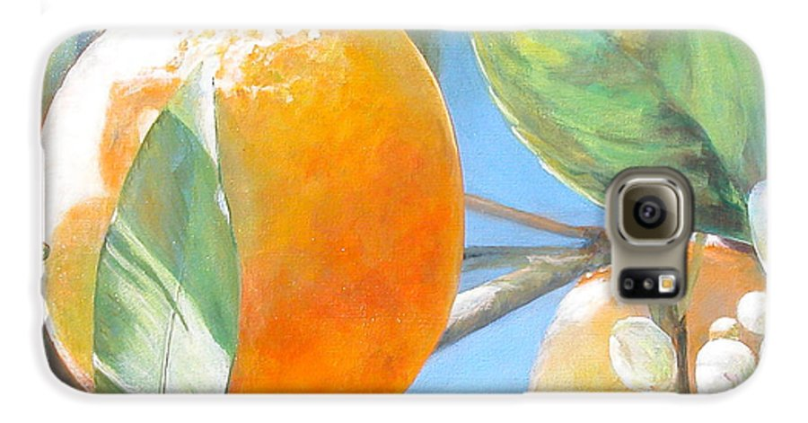 Floral Painting Galaxy S6 Case featuring the painting Orange by Muriel Dolemieux