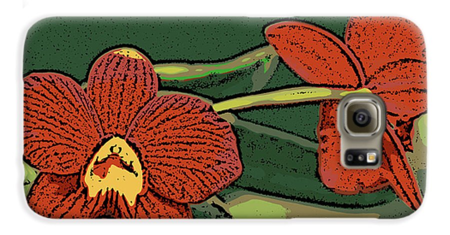 Orchid Galaxy S6 Case featuring the photograph Orange Orchids by Ann Tracy