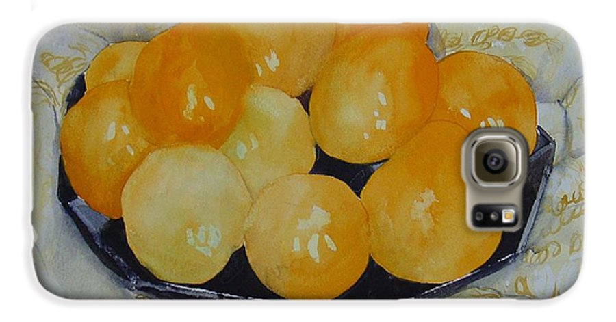 Still Life Watercolor Original Leilaatkinson Oranges Galaxy S6 Case featuring the painting Oranges by Leila Atkinson