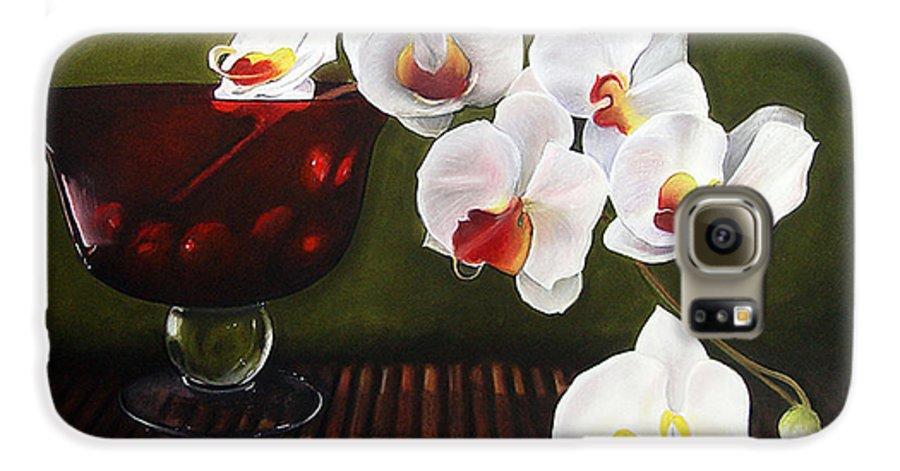 Floral Galaxy S6 Case featuring the painting Orchid Cascade by Colleen Brown