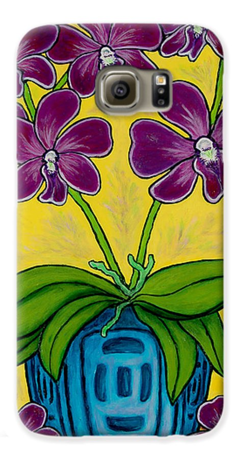 Orchids Galaxy S6 Case featuring the painting Orchid Delight by Lisa Lorenz
