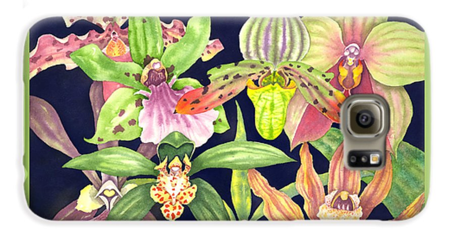 Orchids Galaxy S6 Case featuring the painting Orchids by Lucy Arnold