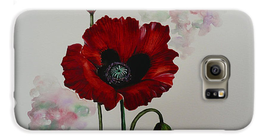 Floral Poppy Red Flower Galaxy S6 Case featuring the painting Oriental Poppy by Karin Dawn Kelshall- Best