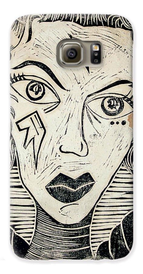 Block Print Galaxy S6 Case featuring the print Original Devil Block Print by Thomas Valentine