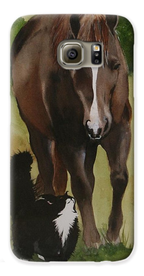 Horse Galaxy S6 Case featuring the painting Oscar And Friend by Jean Blackmer