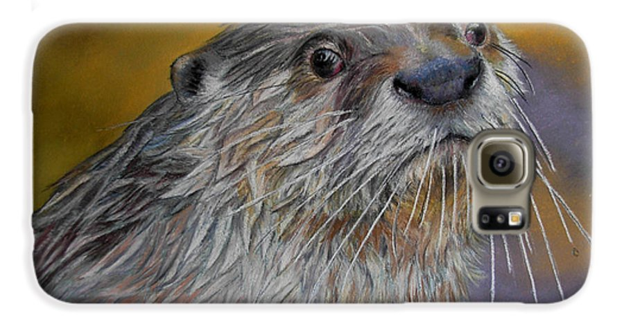 River Otter Galaxy S6 Case featuring the painting Otter Or Not by Ceci Watson