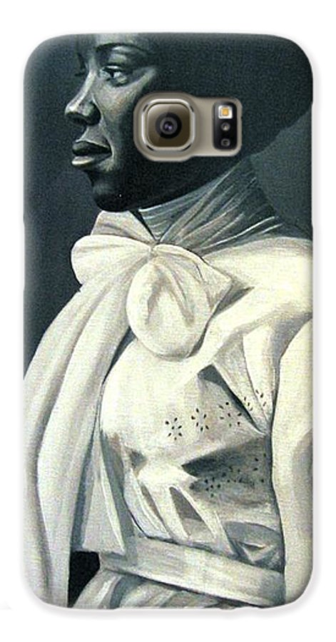 Portrait Galaxy S6 Case featuring the painting Out Of The Box Woman In Large White Bow by Joyce Owens