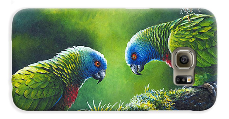 Chris Cox Galaxy S6 Case featuring the painting Out On A Limb - St. Lucia Parrots by Christopher Cox