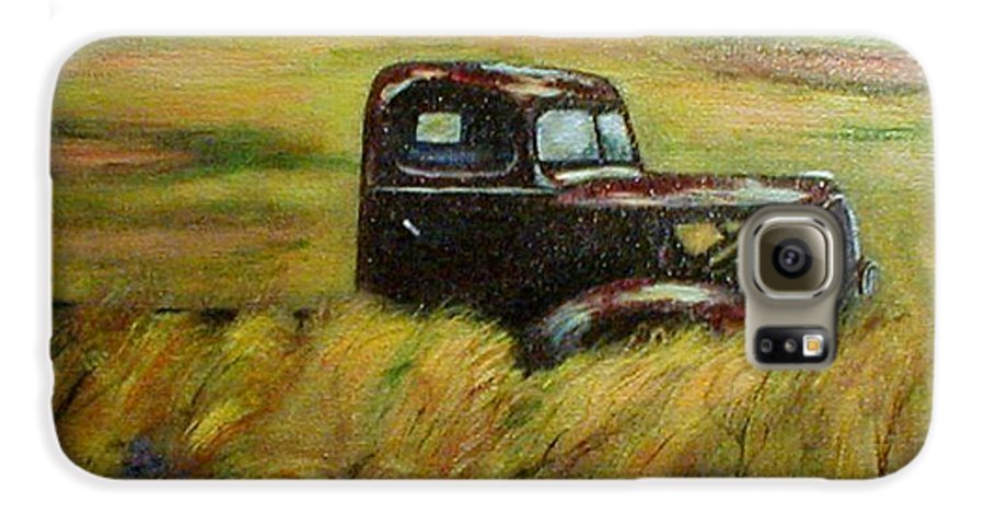Vintage Truck Galaxy S6 Case featuring the painting Out To Pasture by Gail Kirtz
