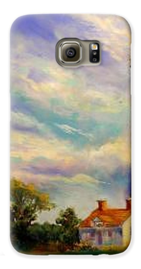 Lighthouse Galaxy S6 Case featuring the painting Outer Banks Lighthouse by Lynee Sapere