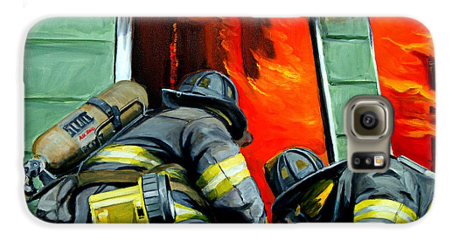 Firefighting Galaxy S6 Case featuring the painting Outside Roof by Paul Walsh