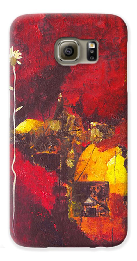 Abstract Galaxy S6 Case featuring the painting Over The Broken Fence by Ruth Palmer