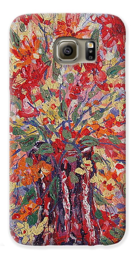 Painting Galaxy S6 Case featuring the painting Overflowing Flowers. by Leonard Holland