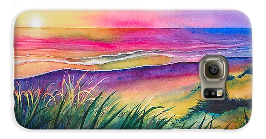 Pacific Galaxy S6 Case featuring the painting Pacific Evening by Karen Stark