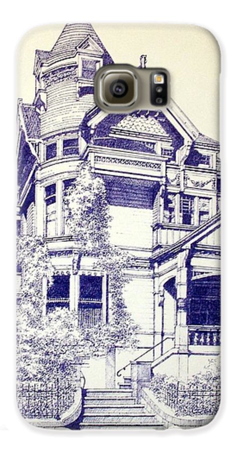 Victorian Mansions Houses Architecture Homessan Francisco Galaxy S6 Case featuring the painting Painted Lady by Tony Ruggiero