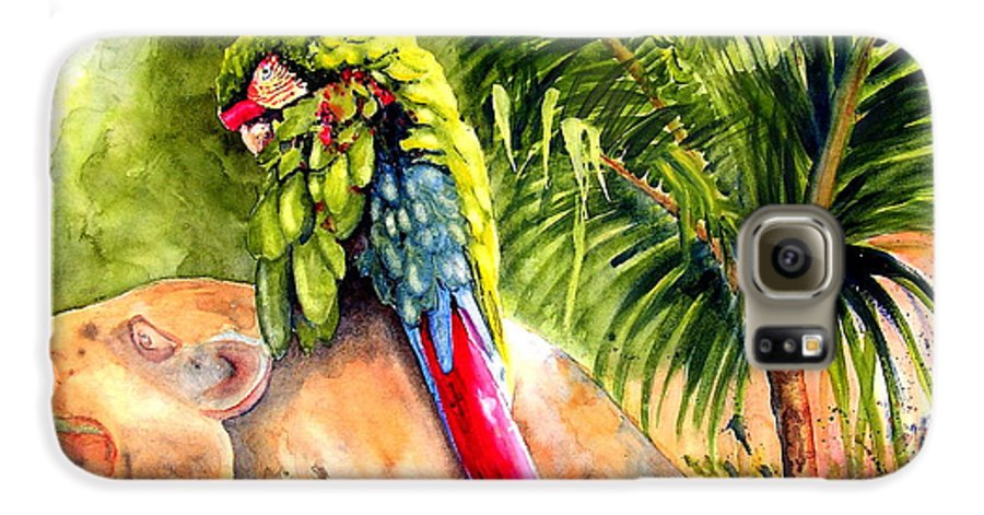 Parrot Galaxy S6 Case featuring the painting Pajaro by Karen Stark