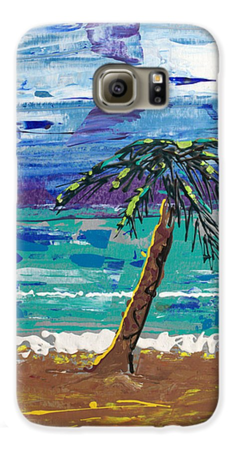 Palm Tree Galaxy S6 Case featuring the painting Palm Beach by J R Seymour
