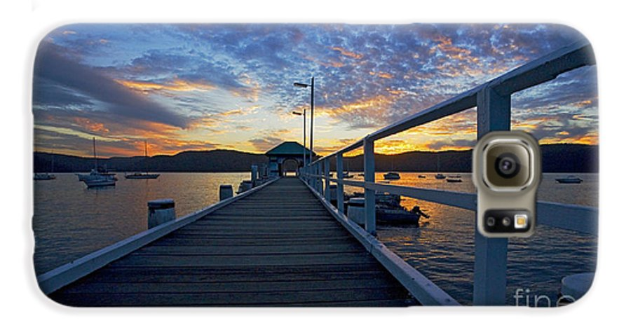 Palm Beach Sydney Wharf Sunset Dusk Water Pittwater Galaxy S6 Case featuring the photograph Palm Beach Wharf At Dusk by Sheila Smart Fine Art Photography