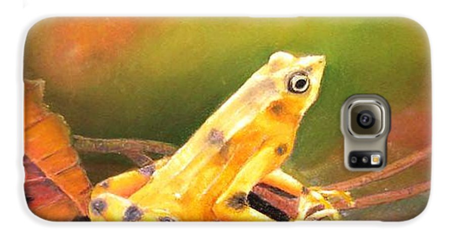 Endangered Galaxy S6 Case featuring the painting Panamenian Golden Frog by Ceci Watson