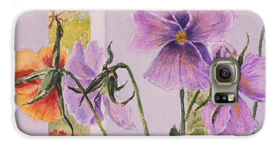 Florals Galaxy S6 Case featuring the painting Pansies On My Porch by Mary Ellen Mueller Legault