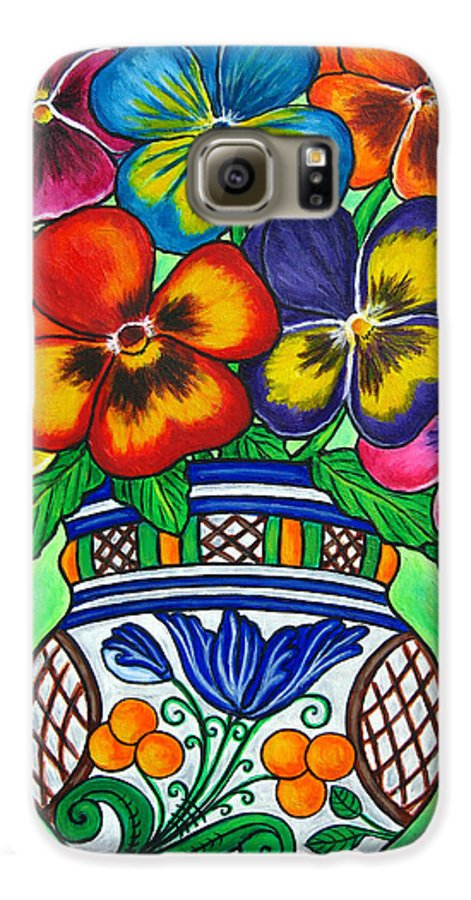 Flower Galaxy S6 Case featuring the painting Pansy Parade by Lisa Lorenz