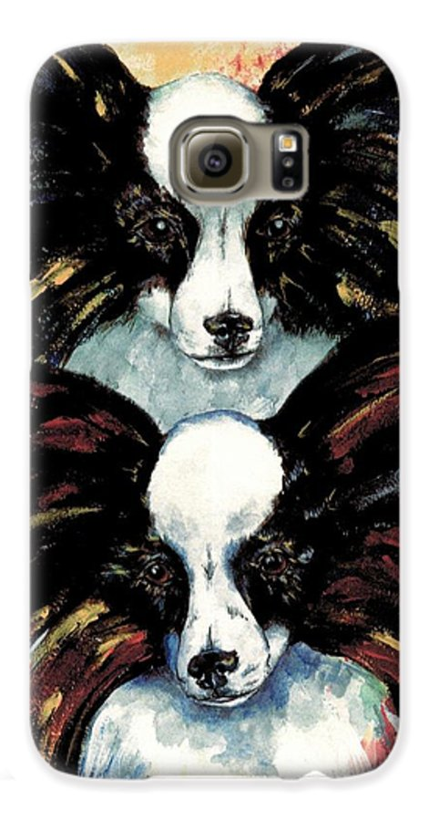 Papillon Galaxy S6 Case featuring the painting Papillon De Mardi Gras by Kathleen Sepulveda