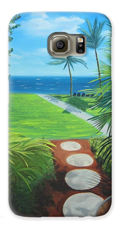 Seascape Galaxy S6 Case featuring the painting Paradise Beckons by Lea Novak