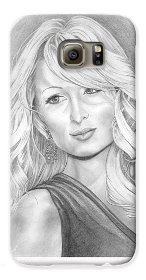 Portrait Galaxy S6 Case featuring the drawing Paris Hilton by Murphy Elliott
