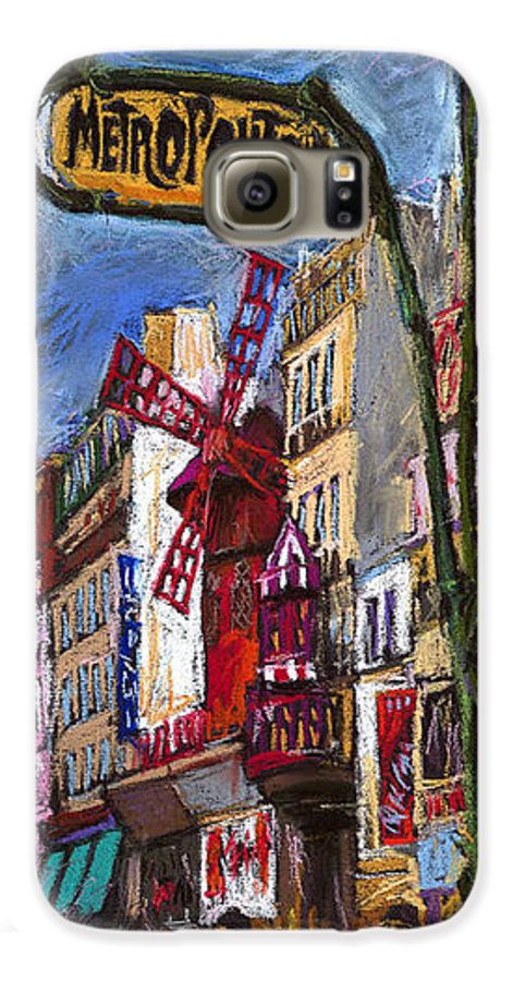 Cityscape Galaxy S6 Case featuring the painting Paris Mulen Rouge by Yuriy Shevchuk
