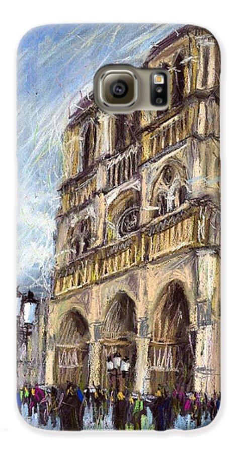 Cityscape Galaxy S6 Case featuring the pastel Paris Notre-dame De Paris by Yuriy Shevchuk