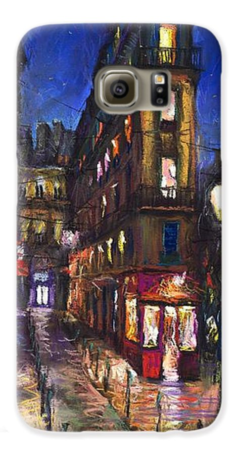 Landscape Galaxy S6 Case featuring the painting Paris Old Street by Yuriy Shevchuk