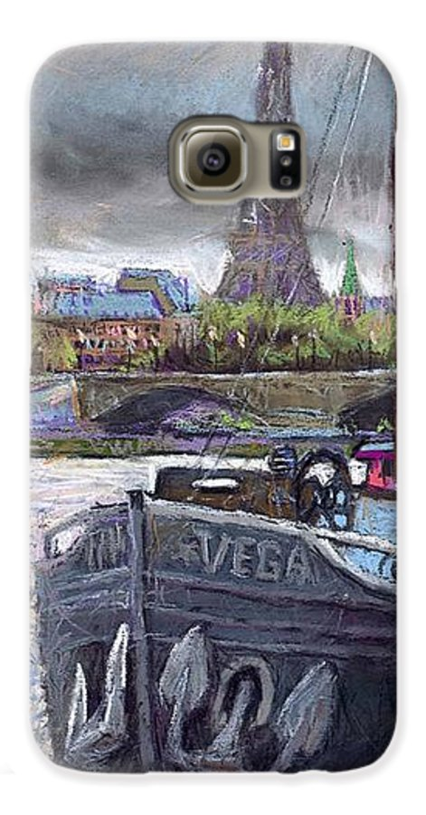 Pastel Galaxy S6 Case featuring the painting Paris Pont Alexandre IIi by Yuriy Shevchuk