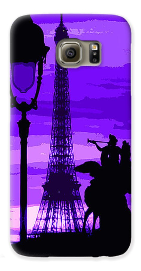 Paris Galaxy S6 Case featuring the photograph Paris Tour Eiffel Violet by Yuriy Shevchuk