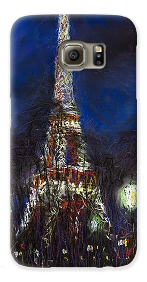 Pastel Galaxy S6 Case featuring the painting Paris Tour Eiffel by Yuriy Shevchuk