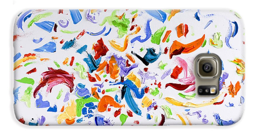 Red Galaxy S6 Case featuring the painting Party by Shannon Grissom