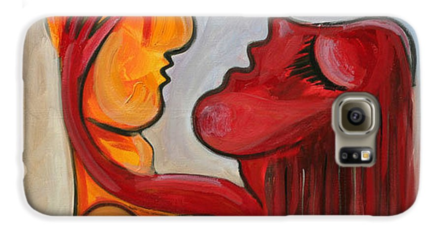 Abstract Oil On Canvas Picasso Yelow Red Love Galaxy S6 Case featuring the painting Pasion Serie 1 by Jorge Berlato