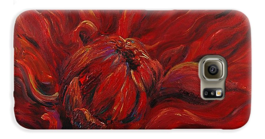 Red Galaxy S6 Case featuring the painting Passion II by Nadine Rippelmeyer