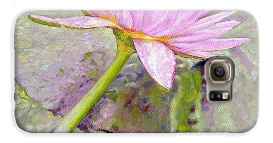 Water Lily Galaxy S6 Case featuring the painting Pastel Beauty by John Lautermilch