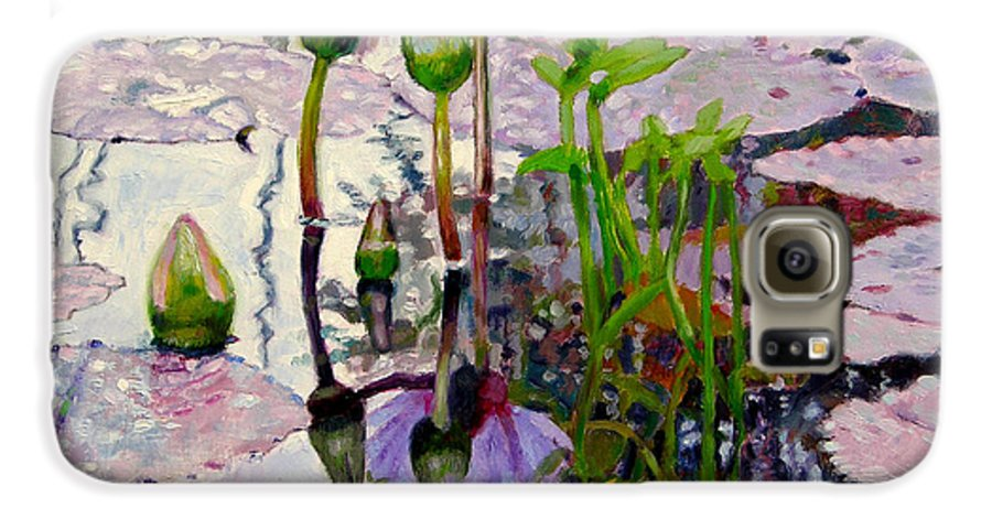 Water Lily Pond Galaxy S6 Case featuring the painting Pastel Light by John Lautermilch