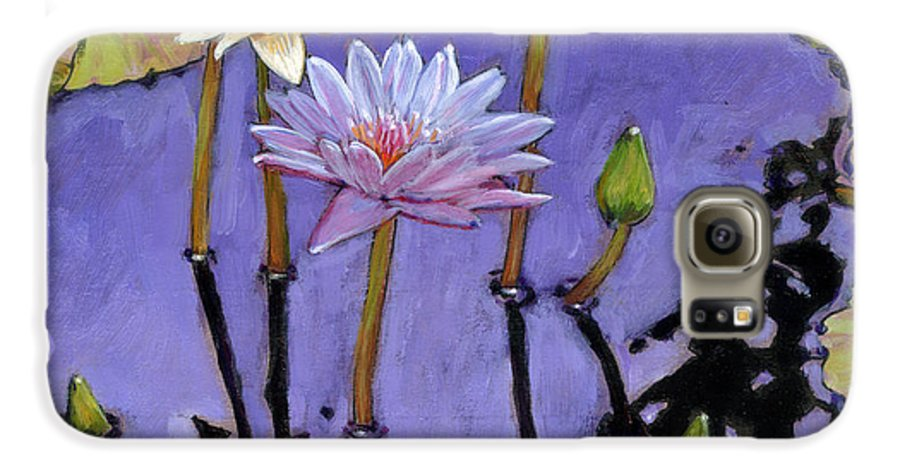 Water Lilies Galaxy S6 Case featuring the painting Pastel Petals by John Lautermilch
