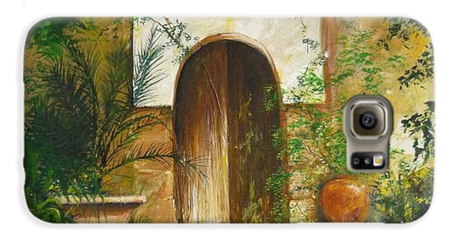 Farmhouse Courtyard Galaxy S6 Case featuring the painting Patio Mallorquin by Lizzy Forrester